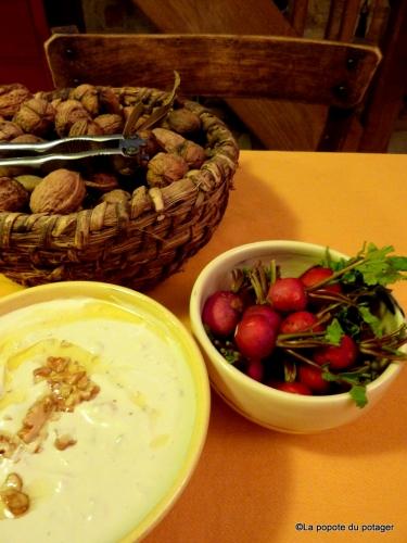 noix, chèvre, vinaigre balsamique, sauce apéro, la popote du potager